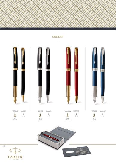 "Слика од ""Parker"" Sonnet Blue CT (FP) - 18K Gold"