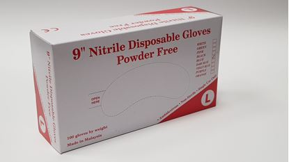 Picture of 9 inch nitrile disposable gloves - powder free (L)